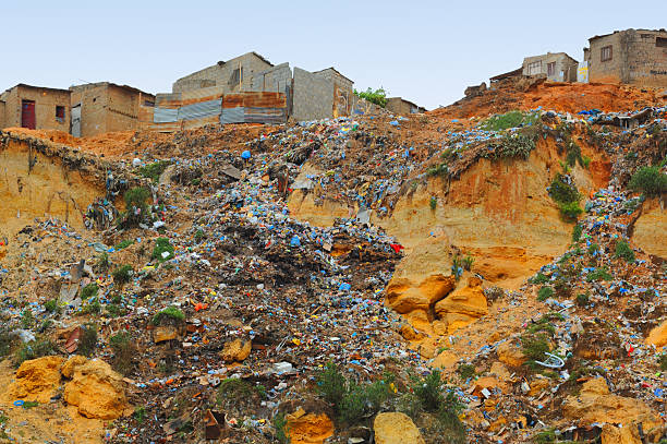 garbage river - republic of the congo stock photos and pictures