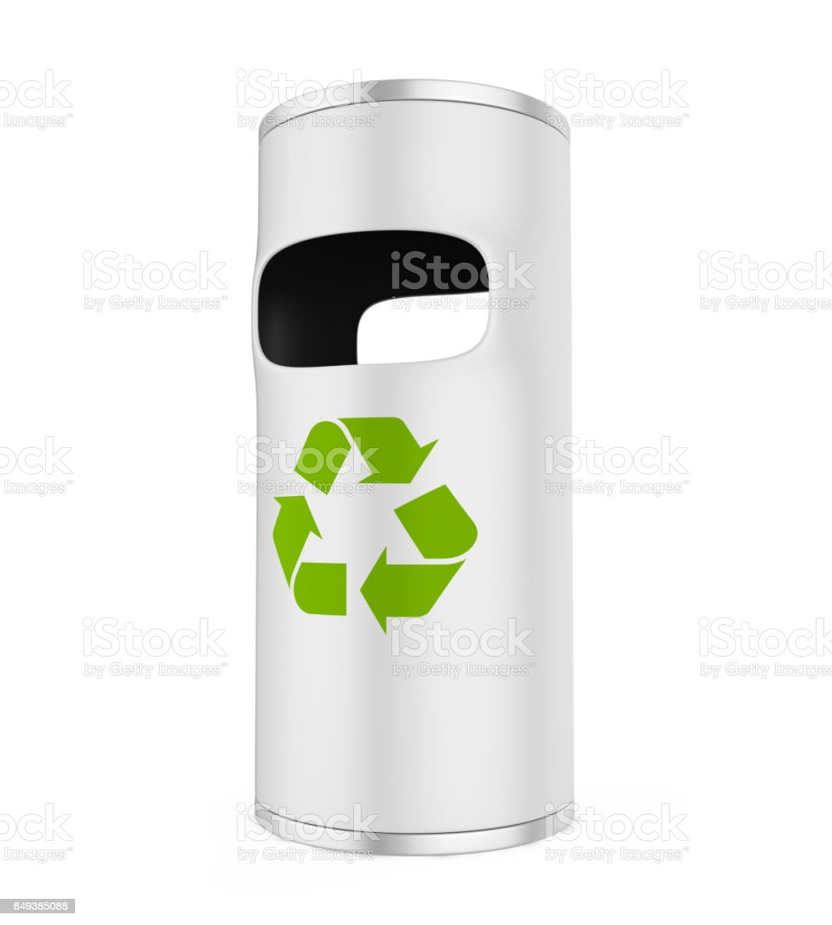 Garbage Trash Bin with Recycle Symbol stock photo