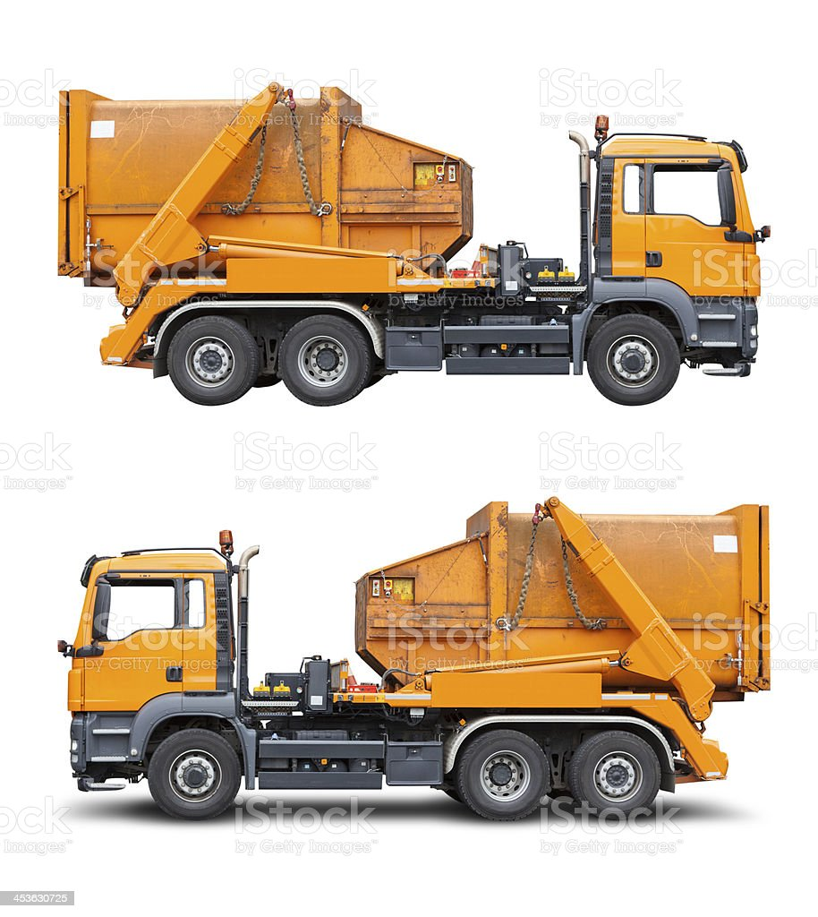 Garbage truck, isolated on white with clipping path royalty-free stock photo