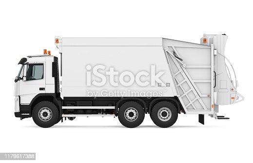 Garbage Truck isolated on white background. 3D render