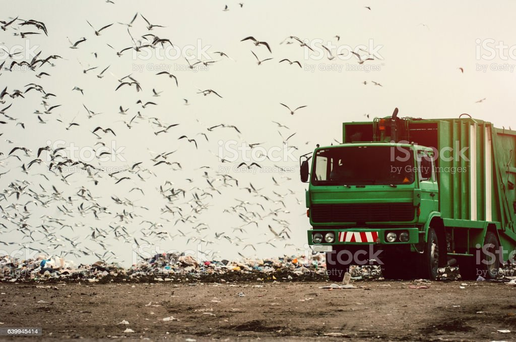 Garbage truck on a landfill stock photo