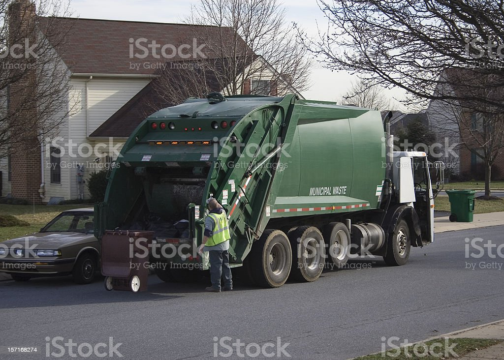 Garbage Truck with Worker royalty-free stock photo
