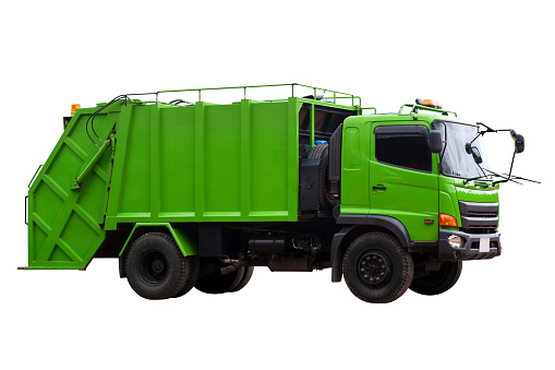 Garbage trucks into waste emptying containers for waste disposal in Thailand isolate on white background, Clipping path.