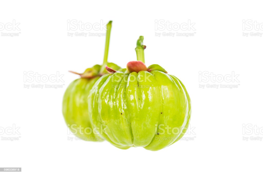 Garcinia cambogia fresh fruit, isolated on white. Fruit for diet. royalty-free stock photo