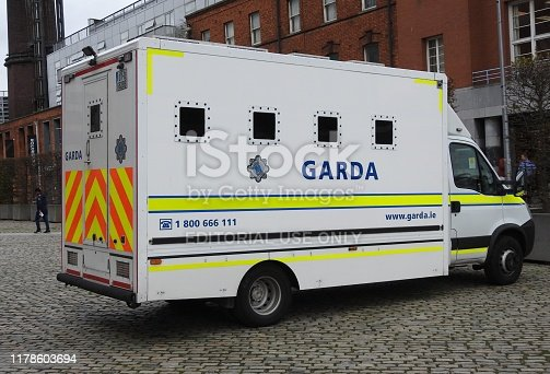 26th September 2019, Dublin, Ireland. Garda Irish police van parked in Smithfield Square.