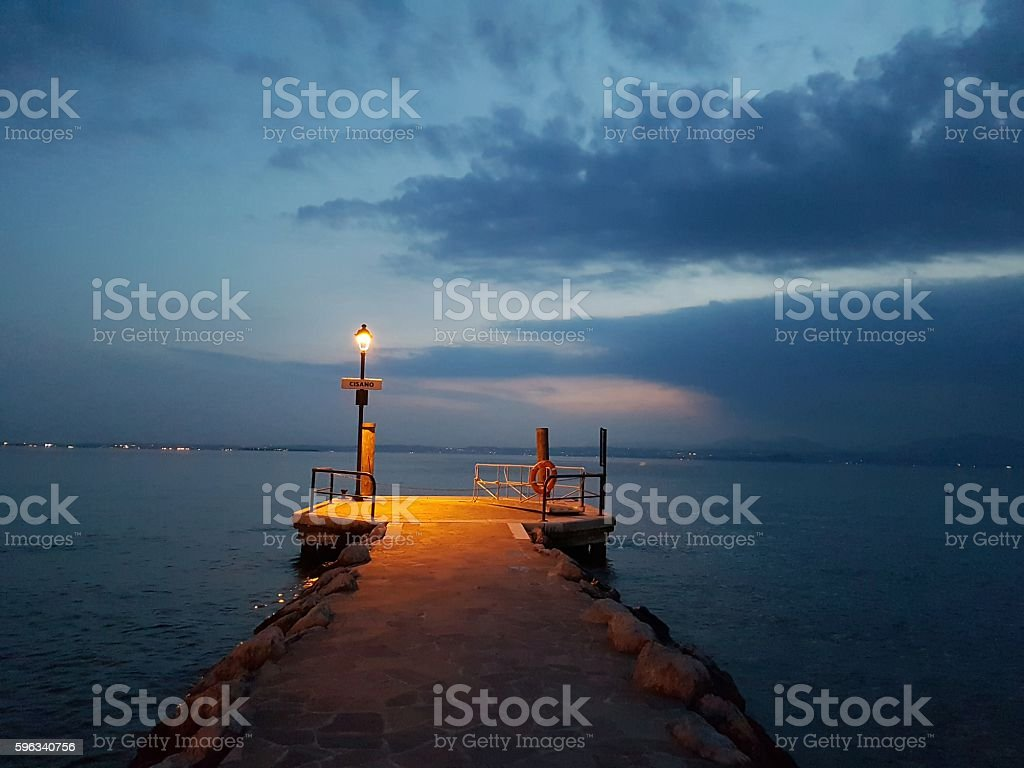Garda lake at sunset royalty-free stock photo