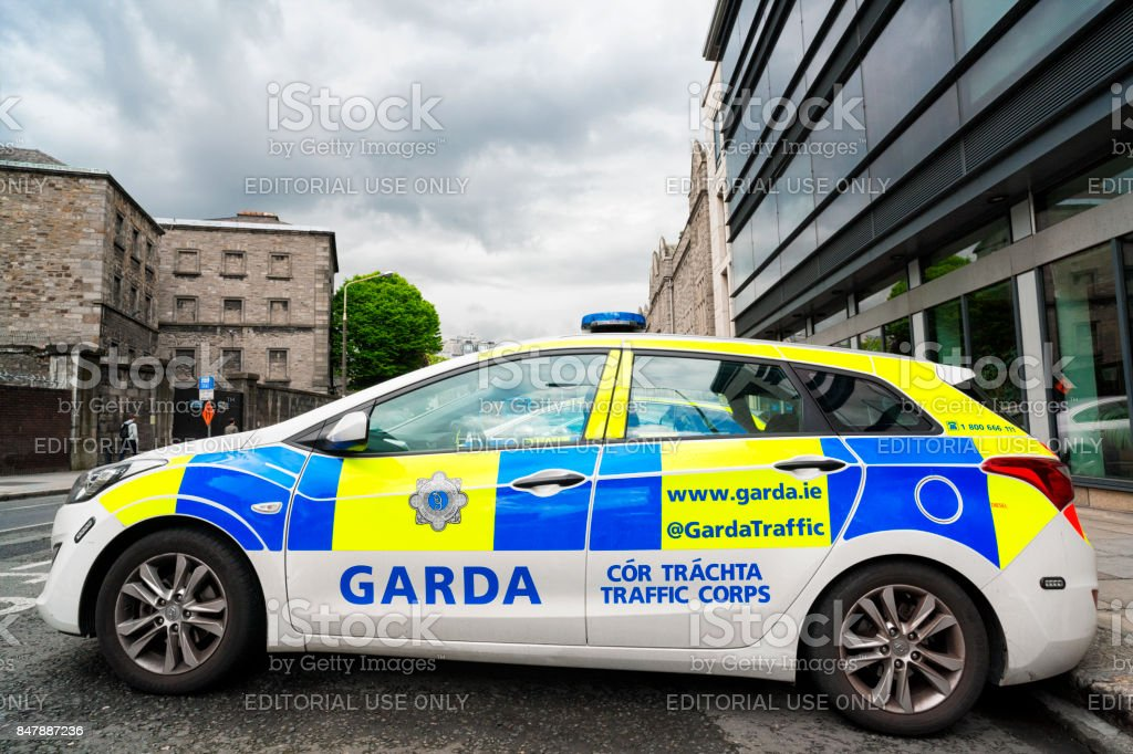 Garda police car at Pearse Street Garda Station in Dublin, Ireland stock photo