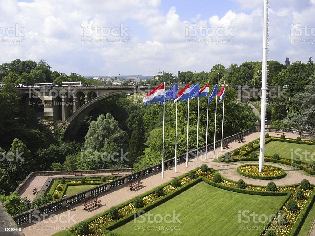 Garden and bridge Luxembourg city royalty-free stock photo