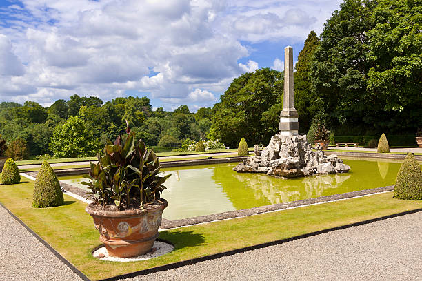 Garden and Fountain at Blenheim Palace, Woodstock, Oxfordshire, England, UK. stock photo