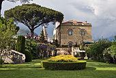 Garden and house in Villa Cimbrone gardens, Ravello, Italy