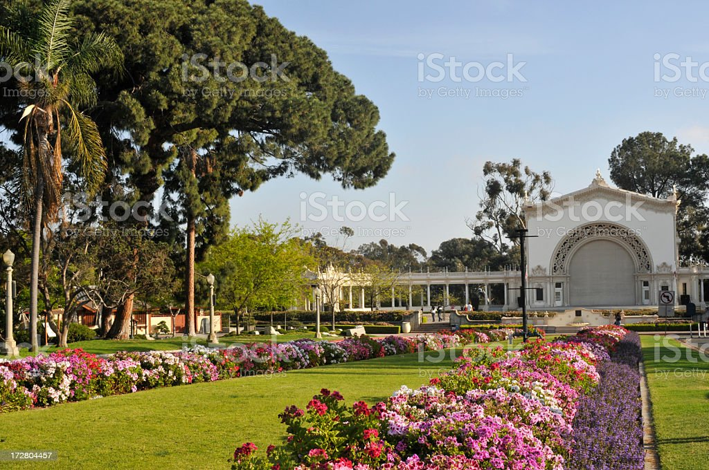 Garden and Pavillion at Balboa Park of San Diego stock photo
