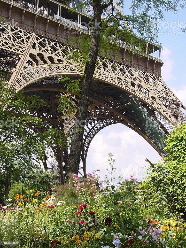 Jardin au pied de la Tour Eiffel photo libre de droits