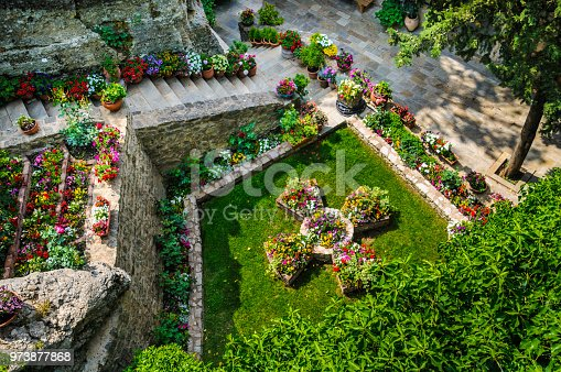 The small ornamental garden of the  Monastery of Rousanou/St. Barbara is well tended to by the 13 nuns who reside there  among the mountains of Meteora, Greece.