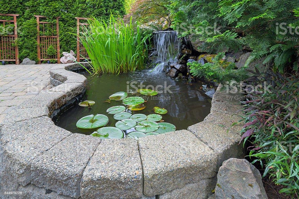 Garden Backyard Pond with Waterfall stock photo