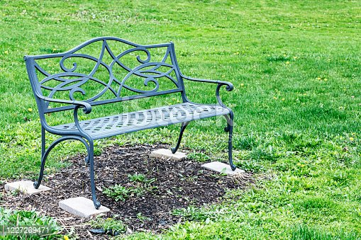 A green, wrought iron metal garden bench planted firmly on four flat cement blocks in a suburban back yard green grass lawn scattered with plenty of flowering blooming bright yellow dandelions. A tranquil place to sit and relax in leisurely comfort in early summer.  Submitted to image brief #775513631 -