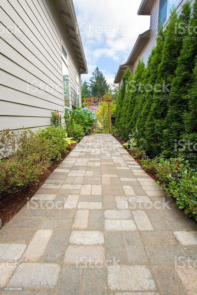 Garden Brick Paver Path Walkway with Arbor stock photo