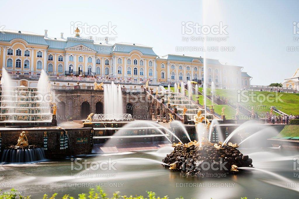 Garden Cascade of Peterhof Palace, Saint Petersburg, Russia - Royalty-free Architectuur Stockfoto