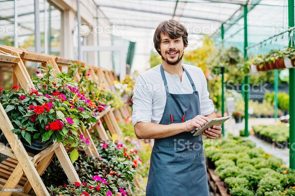 Garden center owner with digital tablet – Foto