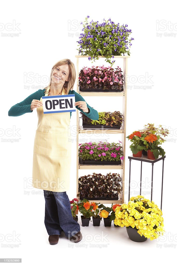 Garden Center Owner with Open Sign royalty-free stock photo