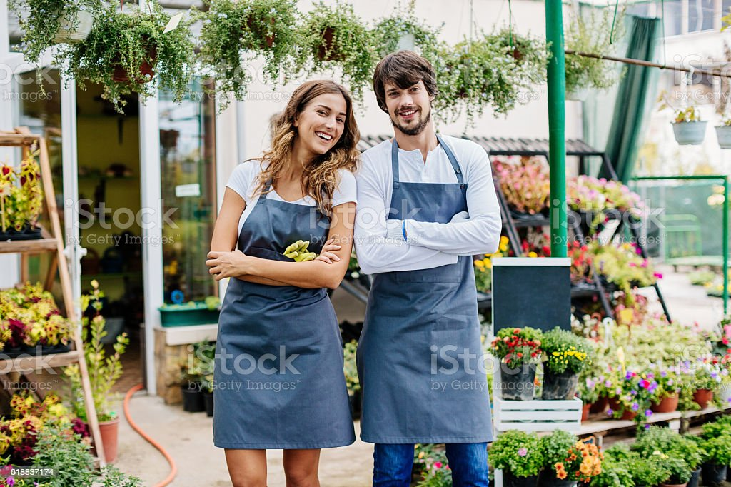 Garden center owners stock photo