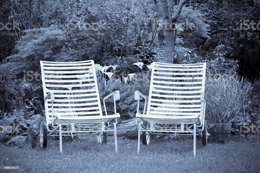 Garden Chaises stock photo