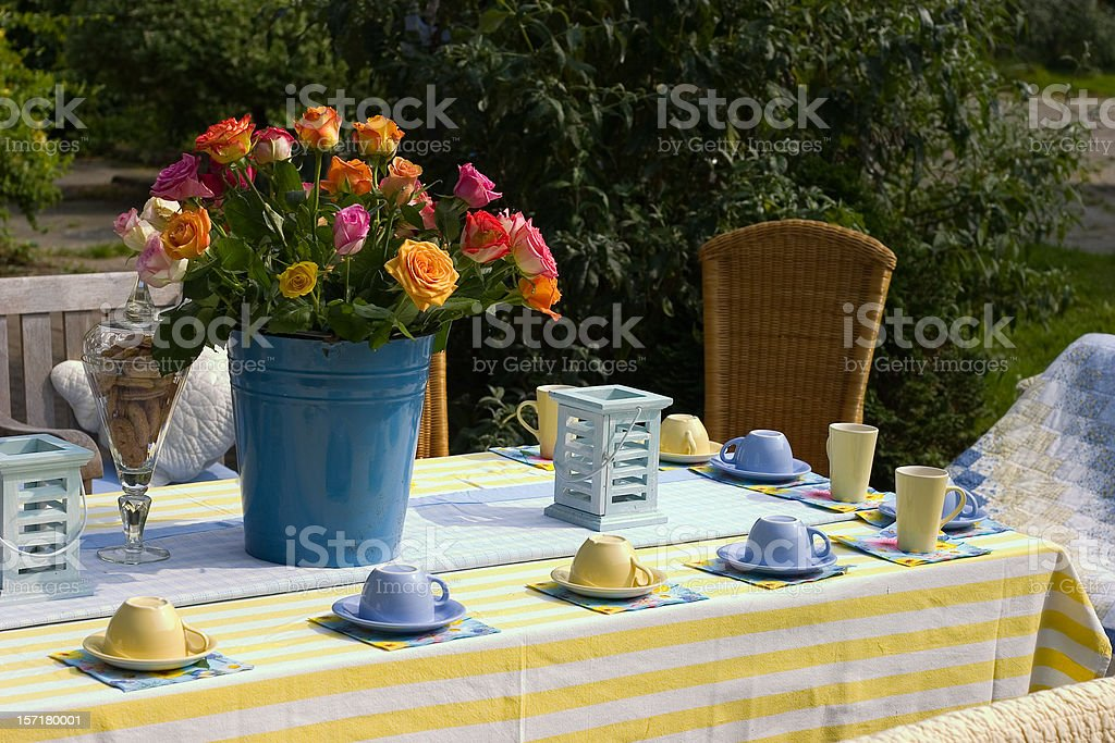 Garden cup of tea royalty-free stock photo