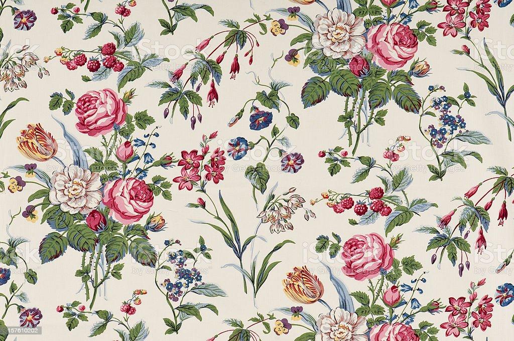 Garden Delight Medium Antique Floral Fabric stock photo