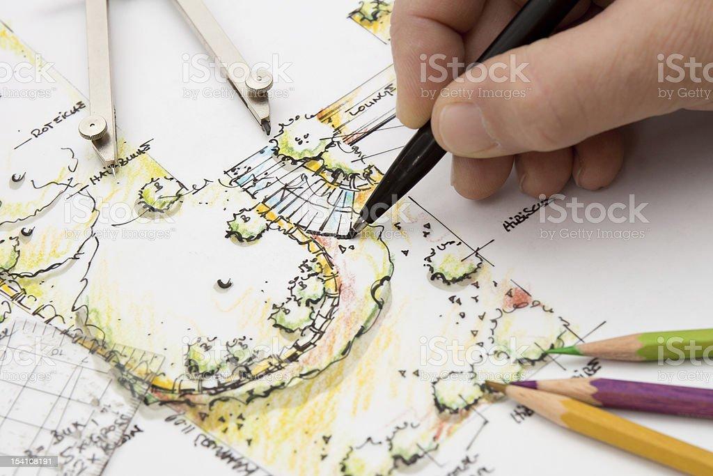 Garden Design, Technische Zeichnung Skizze - Lizenzfrei Arbeiten Stock-Foto
