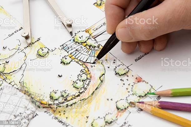 Garden Design Technische Zeichnung Skizze Stockfoto und mehr Bilder von Arbeiten