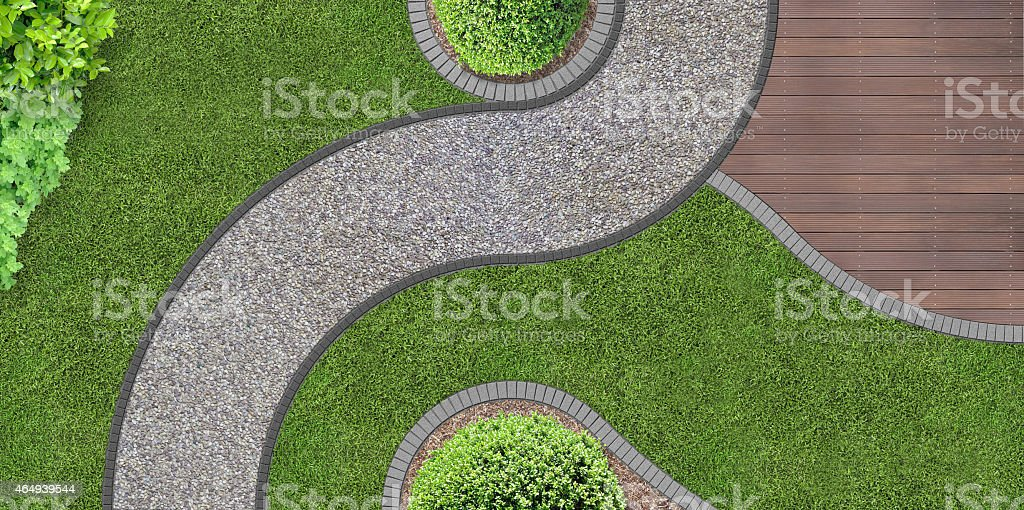 garden design from above stock photo