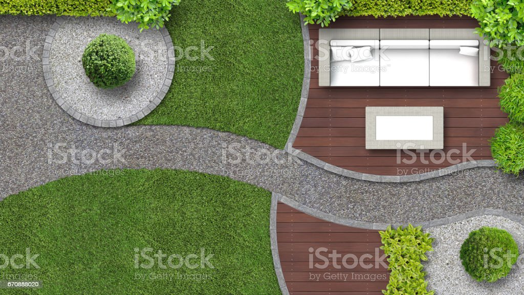 Garden design from above with furniture stock photo