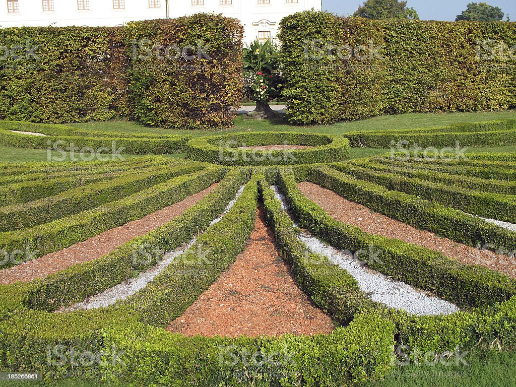 Garden design with boxwood hedges. royalty-free stock photo