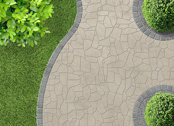 garden detail in aerial view stock photo