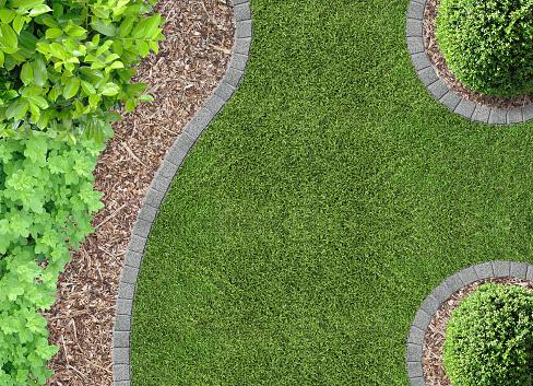 garden detail with bark compost