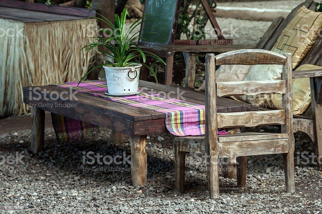 Garden dinning table stock photo