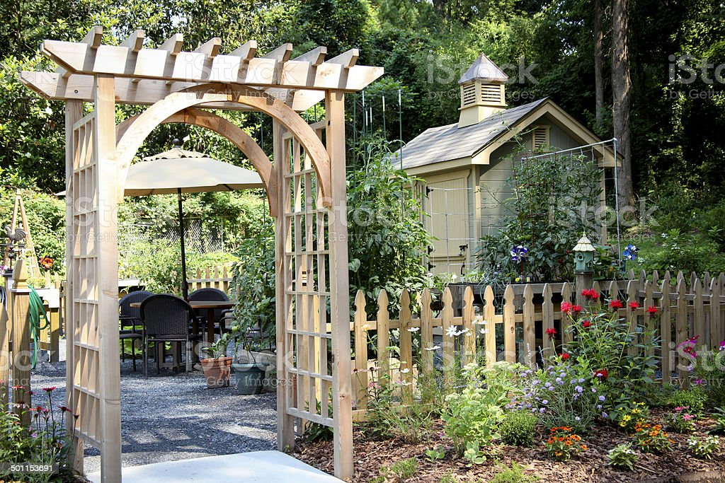 Garden Entrance and Potting Shed stock photo