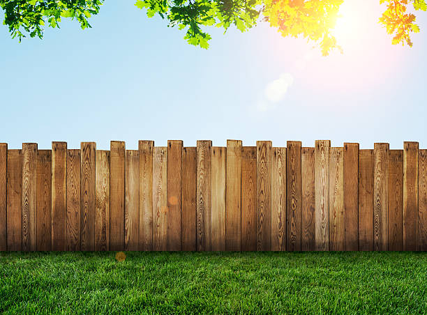 garden fence - fence stock photos and pictures