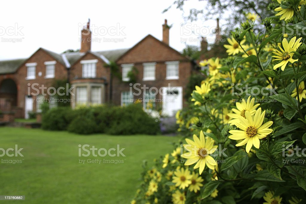 garden flower frame of an English mansion royalty-free stock photo