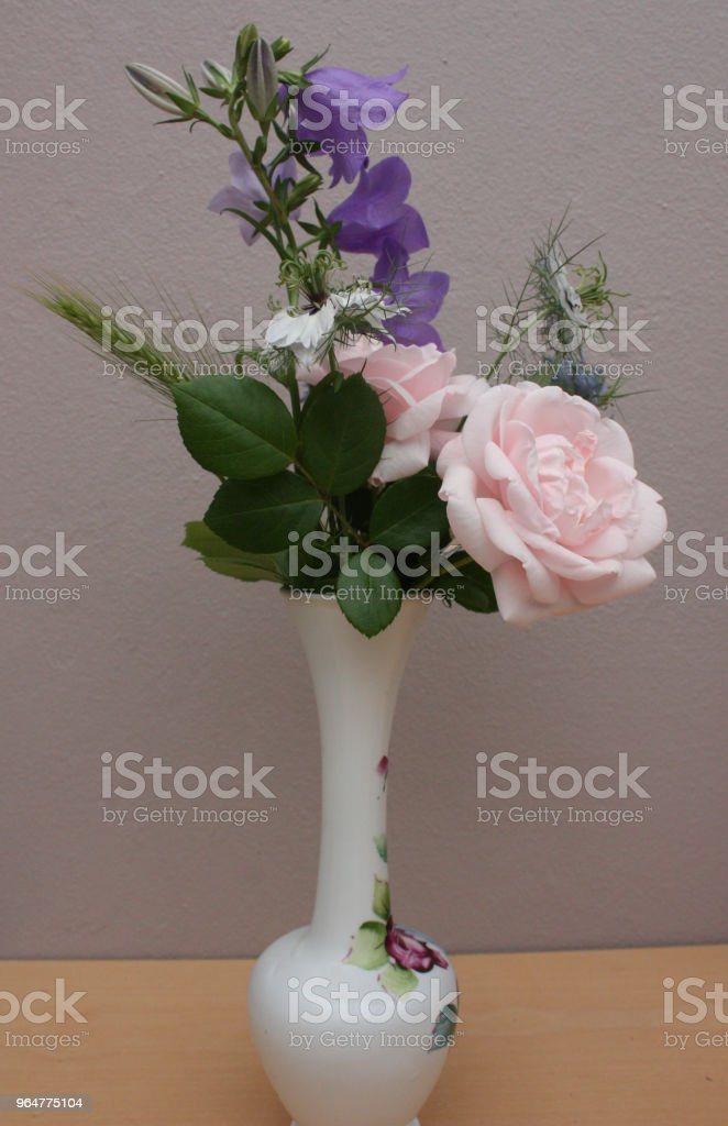 Garden flowers in a vase royalty-free stock photo