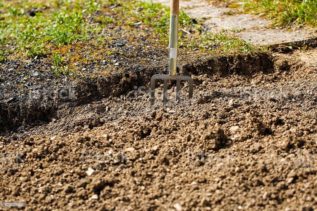 Garten Gabelung Im Boden Angesetzt Die Die Garten Arbeiten Stockfoto