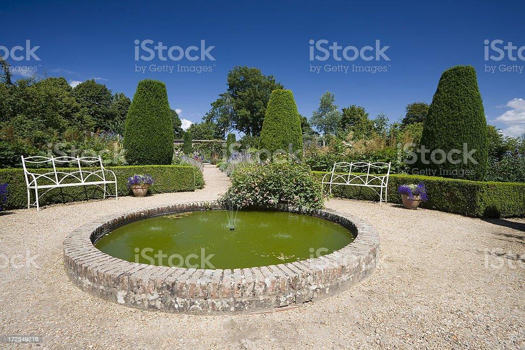 Garden Fountain at Mottisfont stock photo