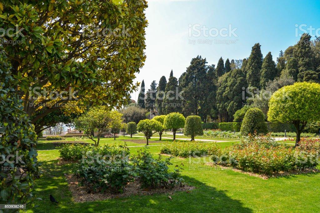 Garden Franciscan monastery stock photo