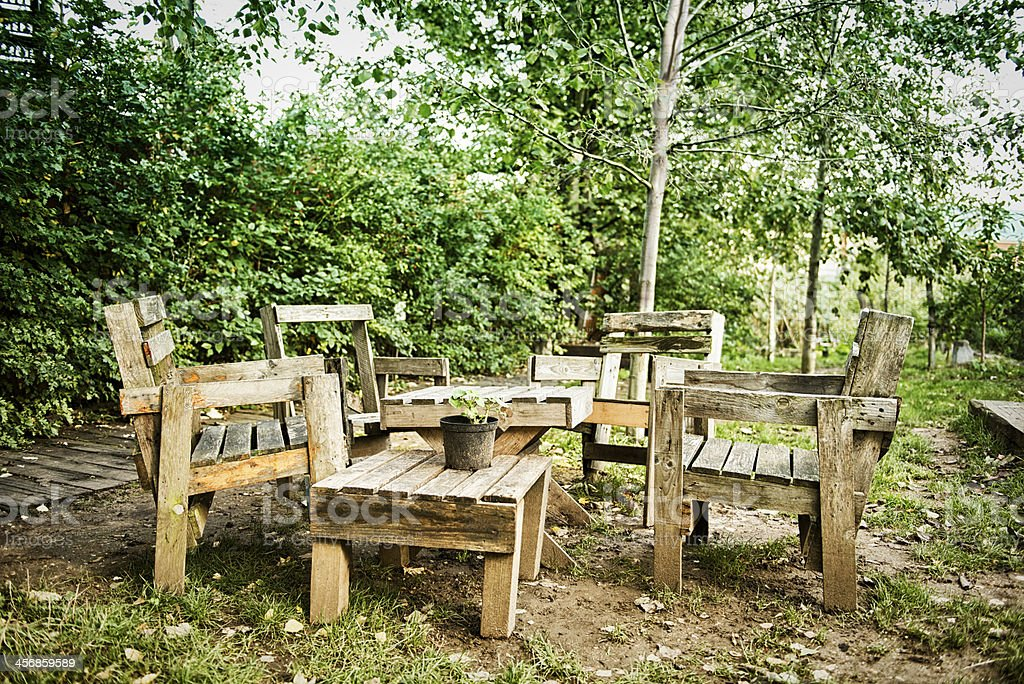 Urban garden, table and chairs