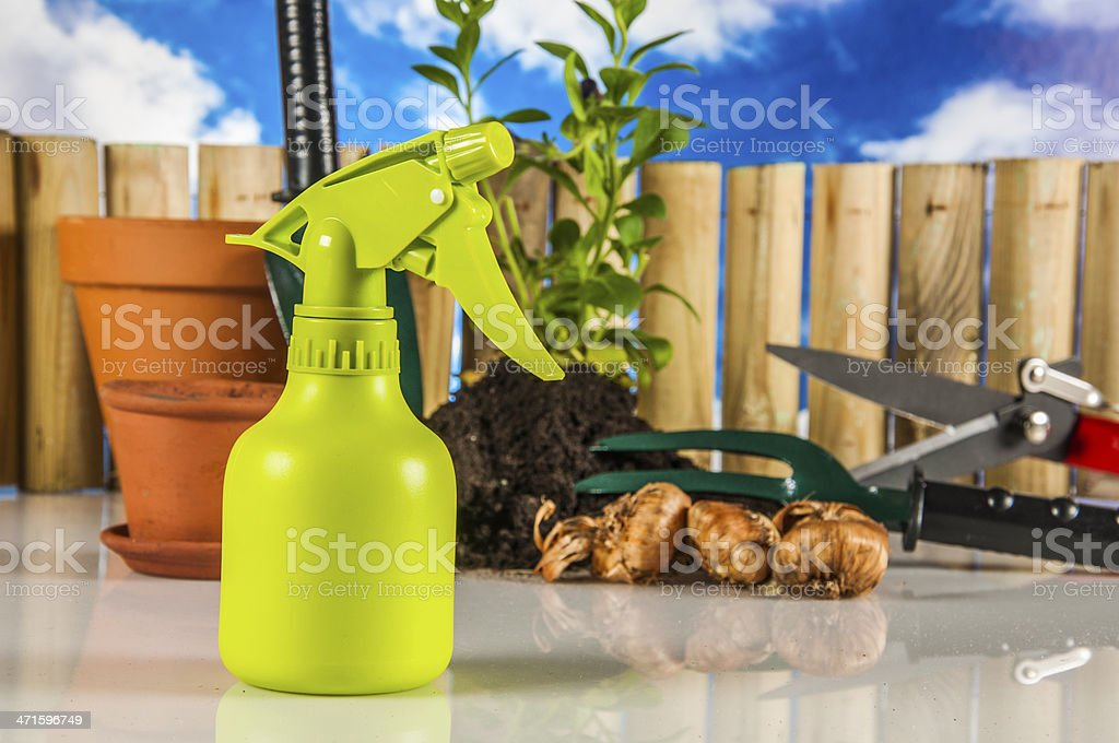 Garden, gardening theme with light blue background royalty-free stock photo