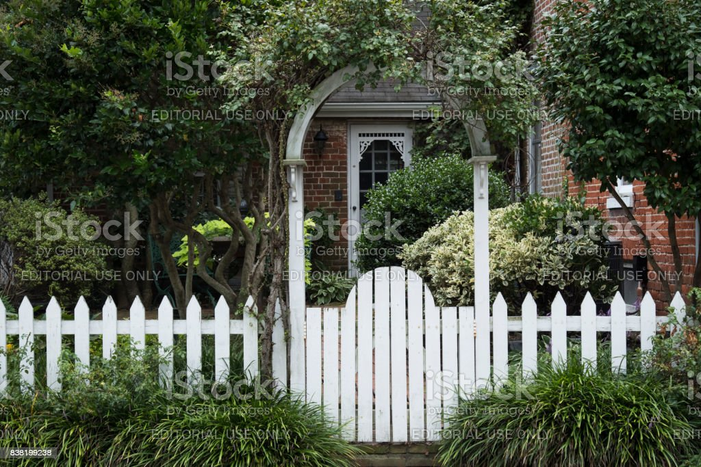 Garden Gate in St. Michael's, Maryland stock photo