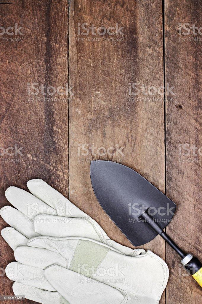 Garden Gloves and Hand Trowel stock photo