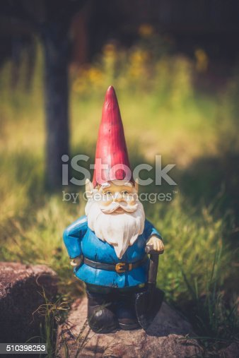 Garden Gnome on Rocks with Tree