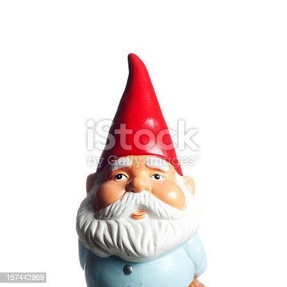 A squared portrait view of a cute and proud garden gnome, with a red cone hat and a white beard, isolated on white. Ideal for conveying any luck / gardening related concept.