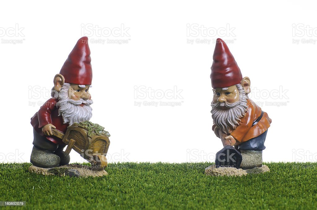 Garden Gnomes working royalty-free stock photo