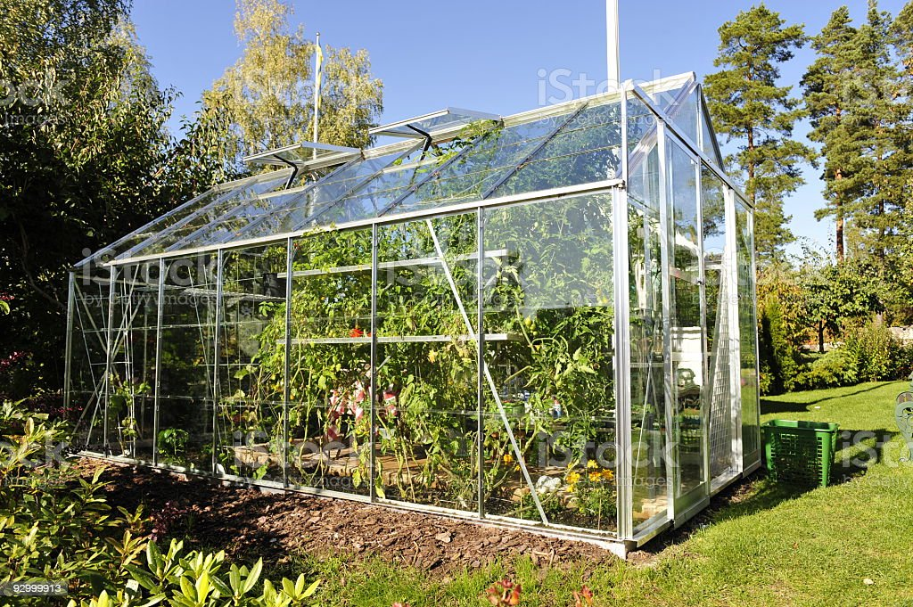 Garden Greenhouse exterior stock photo